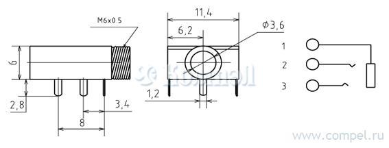 Схема изделия: Разъем аудио 3,5мм(м) на приборн.блок,стерео,3 конт.