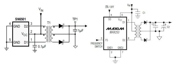 Схема подключения трансформатора для обоих преобразователей
