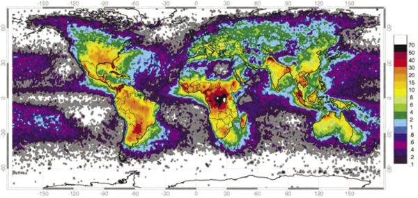 Рис. 3. Глобальная карта частоты ударов молний/км2/год