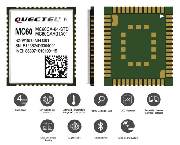 Рис. 1. Внешний вид сотового модуля MC60 производства Quectel Wireless Solutions