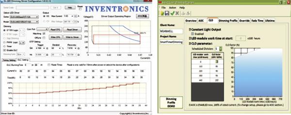 Рис. 2. Скриншот интерфейса ПО от Inventronics и Mean Well в режиме компенсации старения светоди- одов