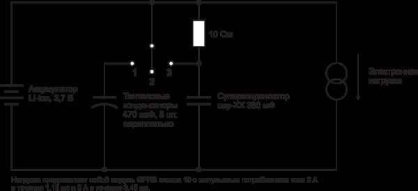 Рис. 5. Испытательная схема электронной нагрузки с литий-ионным аккумулятором и двумя варианта- ми накопителей