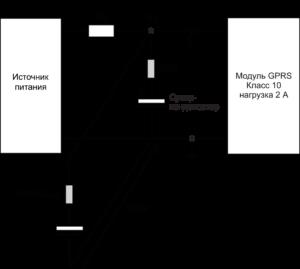 Рис. 9. Испытательная схема для оценки влияния соединительных проводов между суперконденсато- ром и нагрузкой