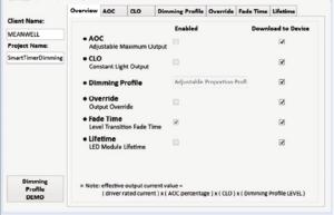 """Рис. 4. В поле """"Overview"""" отображаются функции, которые включены в текущих настройках"""