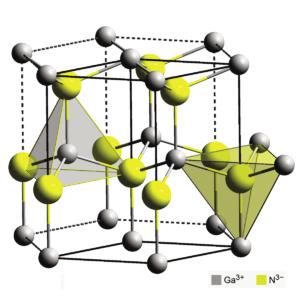Рис. 4. Особое строение кристаллической решетки нитрида галлия обусловило его свойства, полез- ные для электронной промышленности