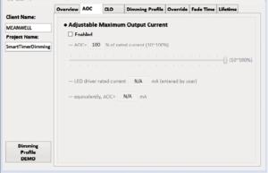 Рис. 5. Автоматический расчет AOC по введенному номинальному току