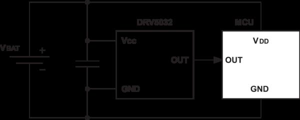 Рис. 3. Типовая схема включения при работе с микроконтроллером