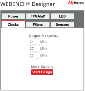 Рис. 5. Задание входных данных для WEBENCH® Clock Architect
