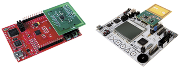Рис. 8. Отладочные NFC-наборы TRF7970ATB Target Board (а) и NFCLink Evaluation Kit Bundle (б)